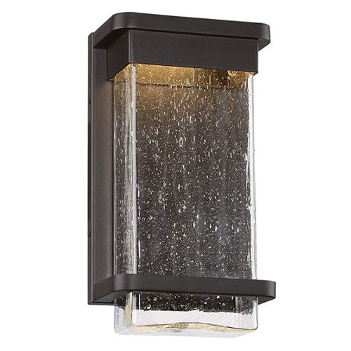 NEW Modern Forms Vitrine Collection 1 Light LED Exterior Wall Light In  Aluminum With Hammered Optic Seedy Glass.