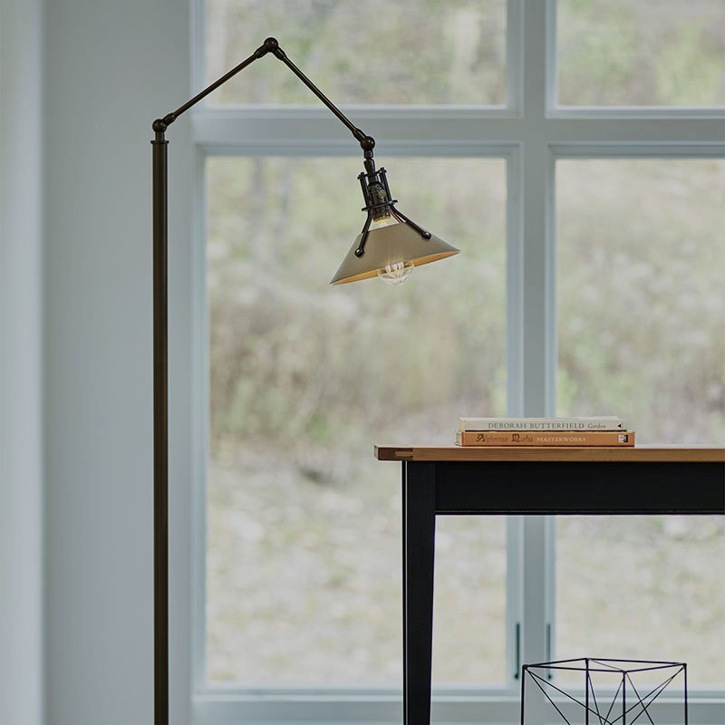 Henry Floor Lamp by Hubbardton Forge in Bronze with Soft Gold Accents