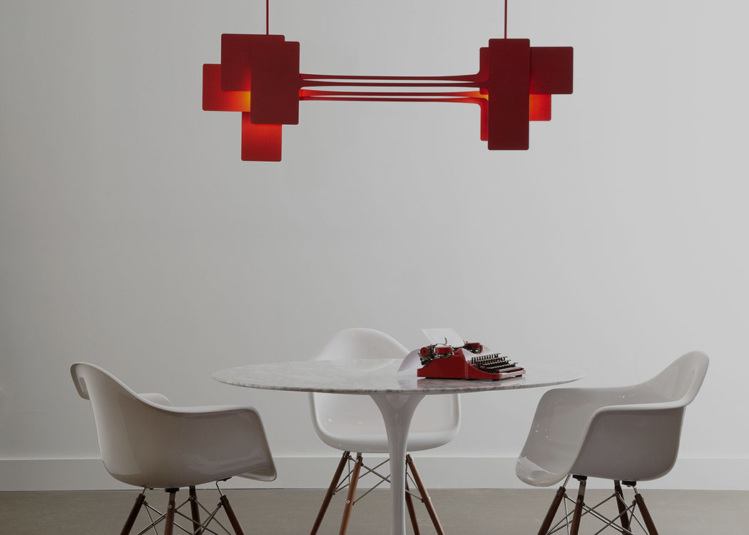Stretch Pendant in Satin Red by Vermont Modern by Hubbardton Forge