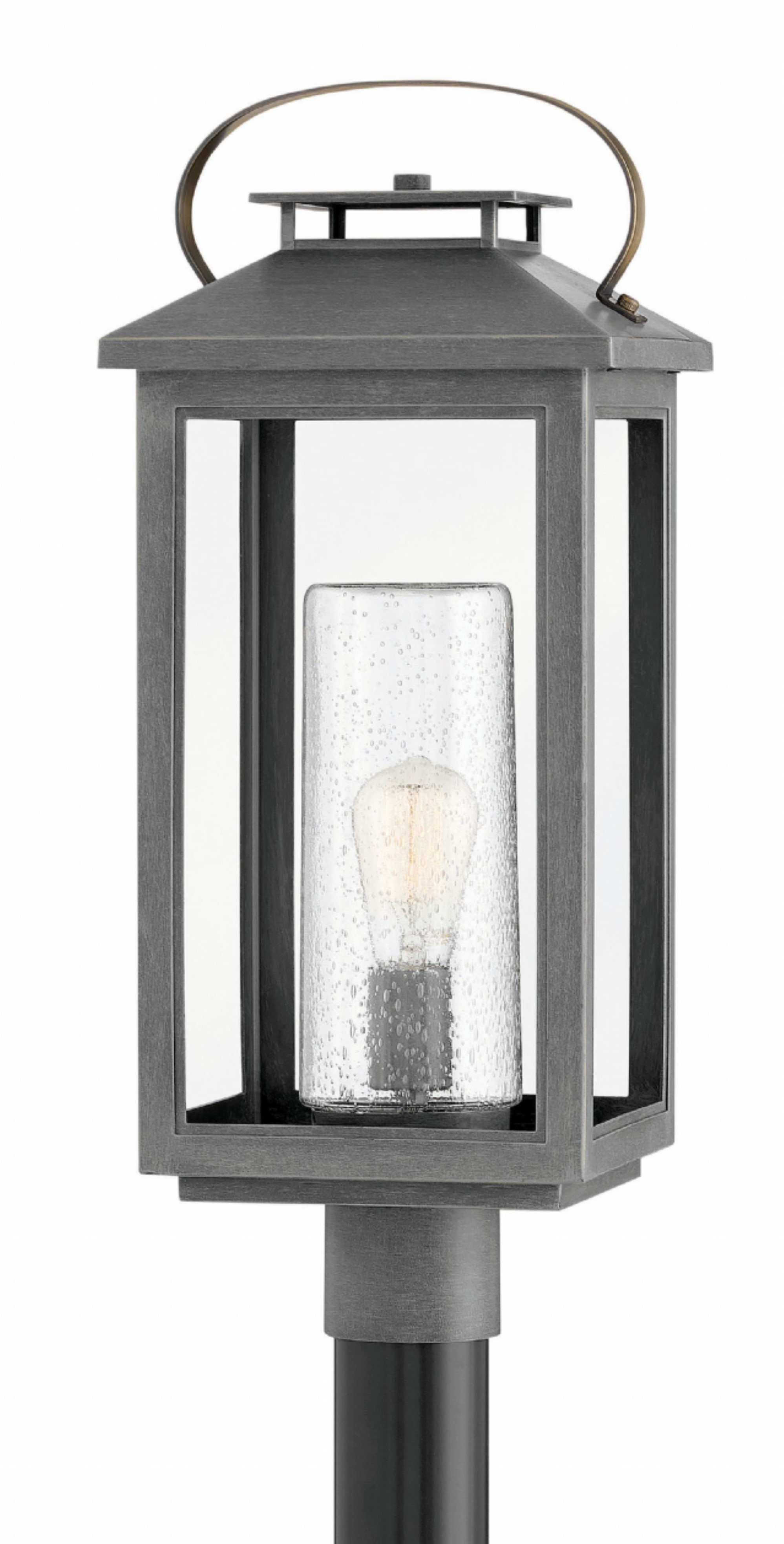 Hinkley 1161AH Atwater Outdoor Post Light in the Ash Bronze finish with Seedy Glass