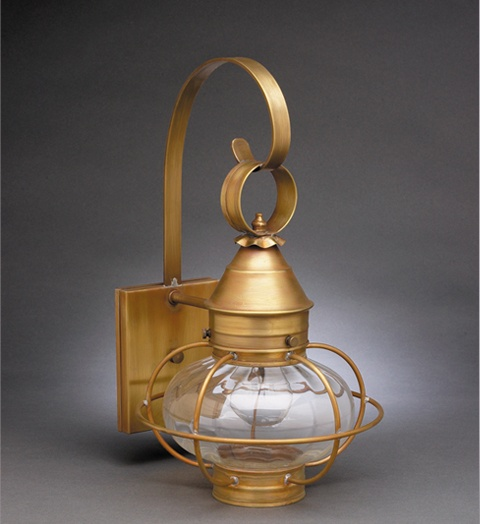 Northeast Lantern 2521 Outdoor Onion Light Sconce in Antique Brass with Optic Glass