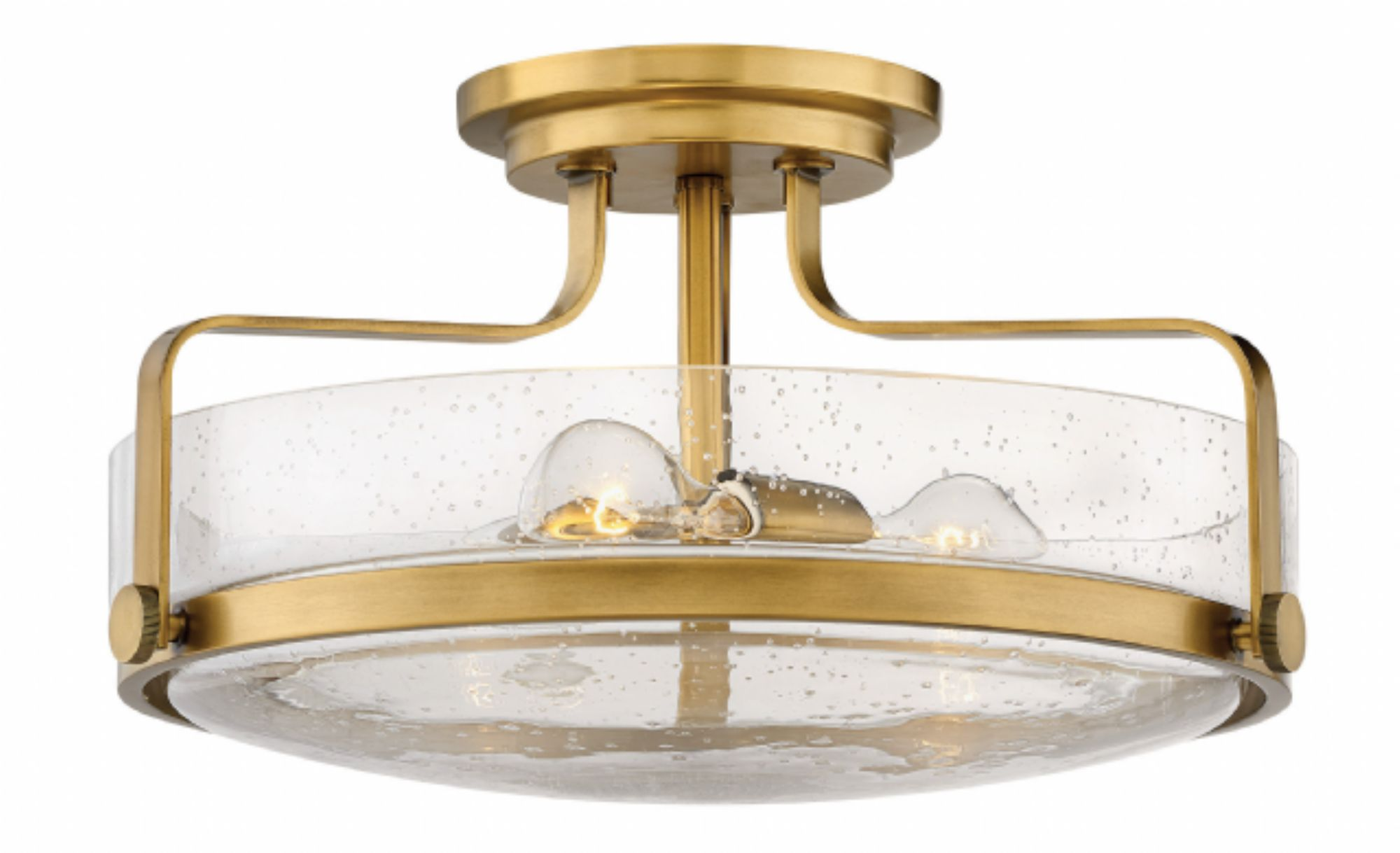 "Hinkley Lighting 3643HB-CS 18"" Harper Semi Flush in Heritage Brass with Clear Seedy Glass"