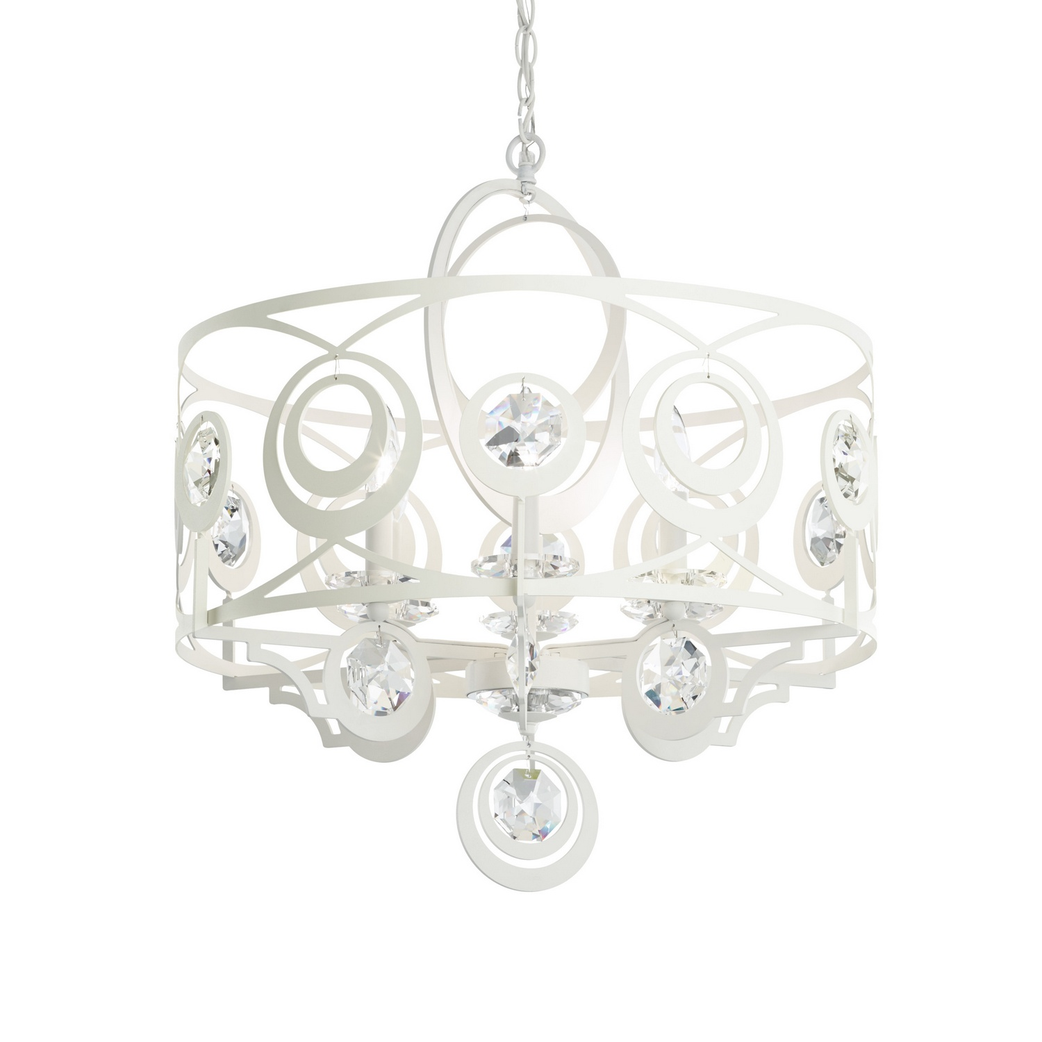 Schonbek WB1006 Gwynn Chandelier in White with Swarovski Crystal