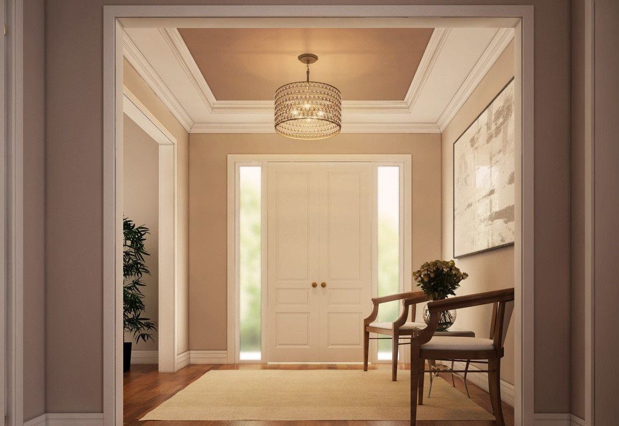 Quoizel's AX2826 Alexandria Pendant creates an warm, inviting atmosphere in the foyer.