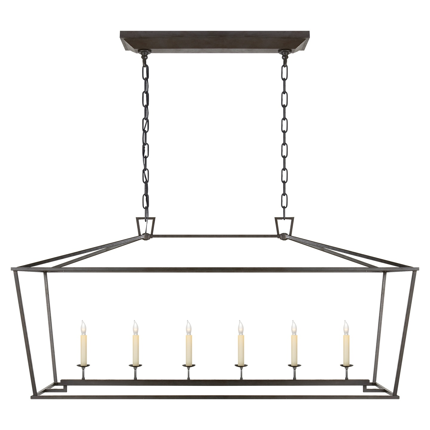 Visual Comfort Darlana Large Linear Pendant in Aged Iron.