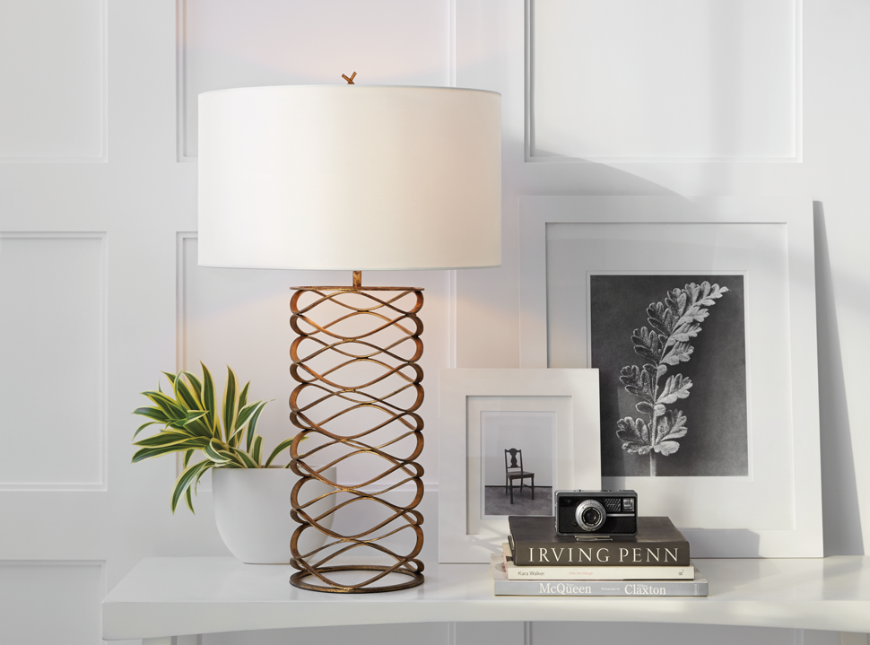 Showing a lamp with a fabric shade. Visual Comfort Bracelet Table Lamp by Barry Goralnick in Gilded Iron with Linen Shade.