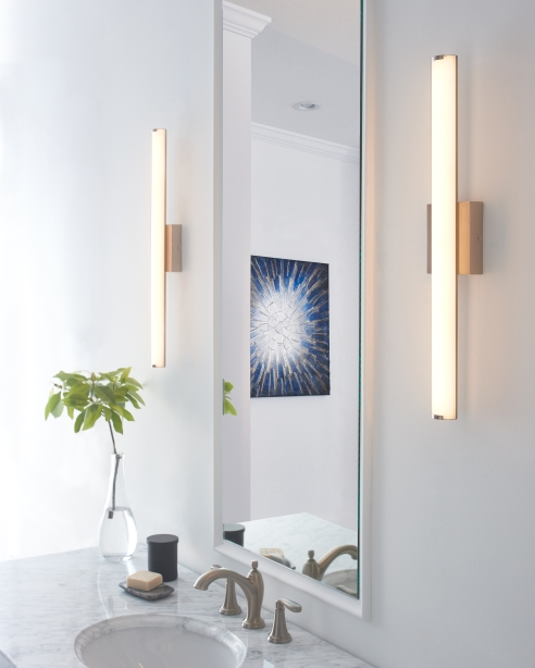 Tech Lighting's Finn LED Bath Bar is 90CRI and 3000K for bright, crisp task lighting.