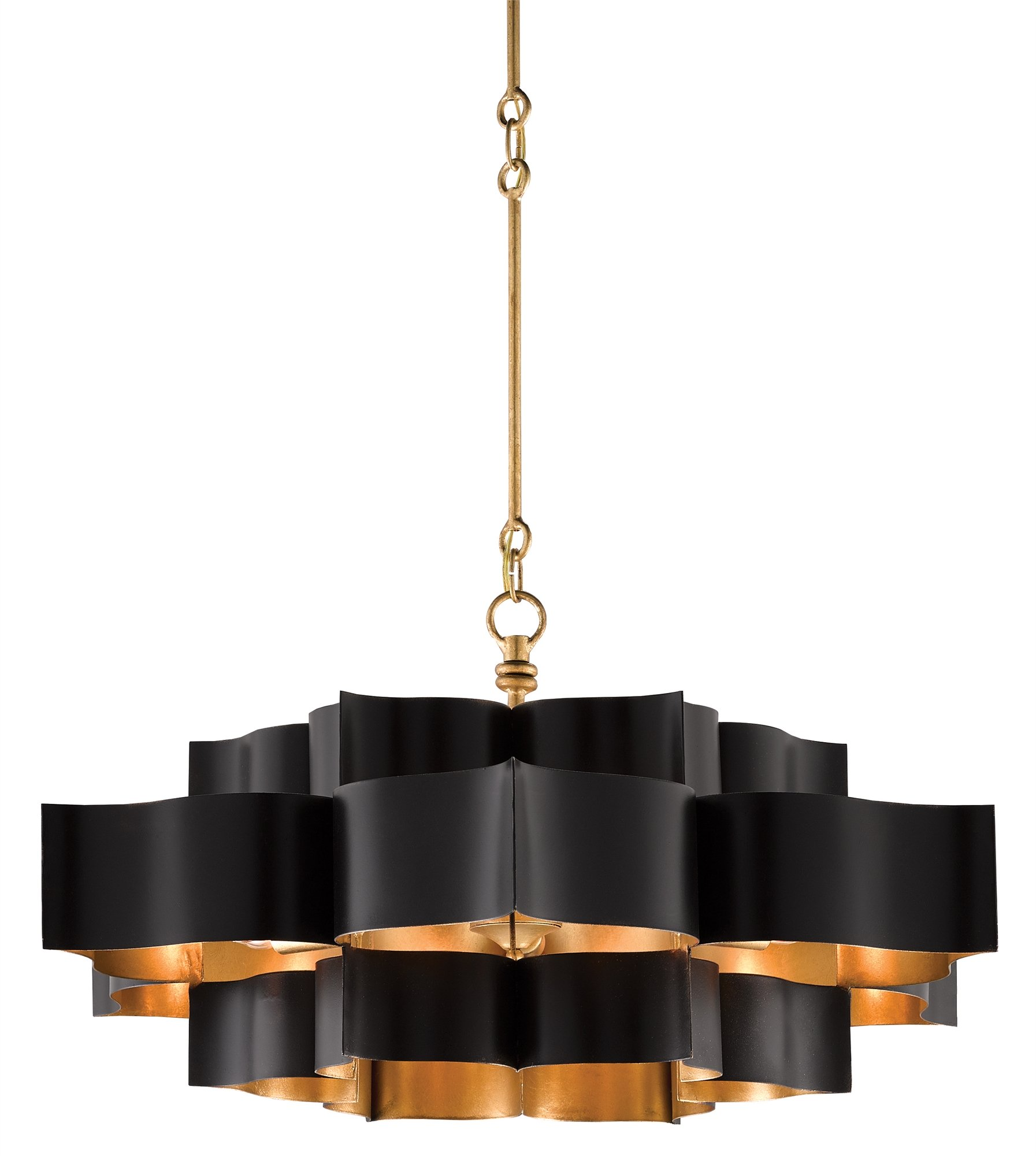 Currey & Company's Grand Lotus Chandelier in black and gold finish is simply stunning