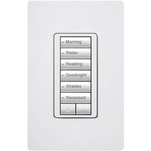 Lutron's HomeWorks six button keypad with raise and lower has six buttons for scenes, engraved with the name of each scene for easy operation.