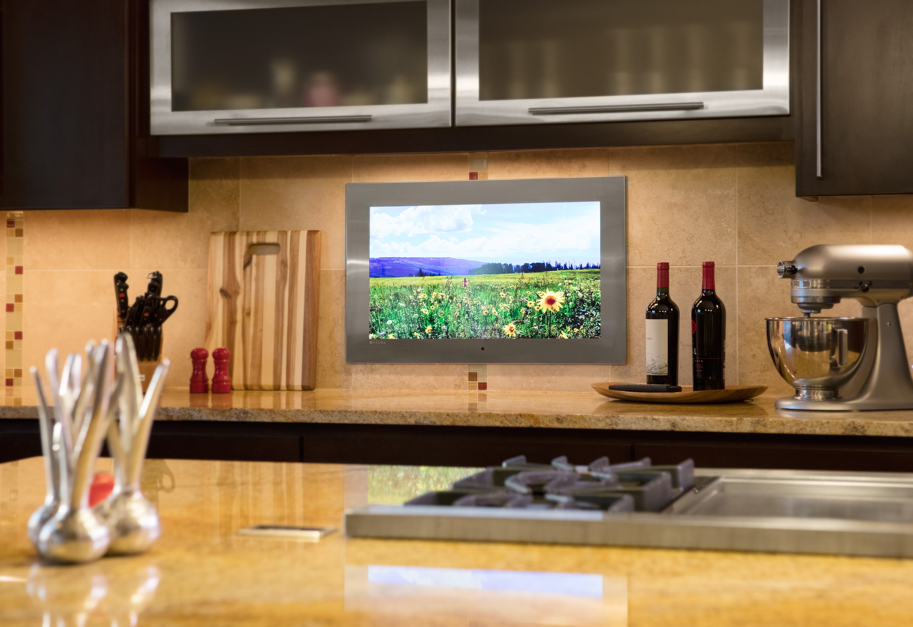 Seura's Indoor Waterproof TV is also perfectly at home recessed into a kitchen backsplash.