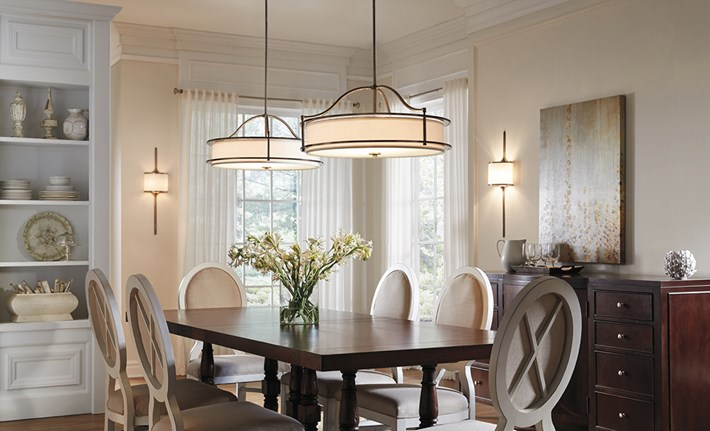 Pendants and sconces from Kichler's Emery Collection create a layered lighting look.