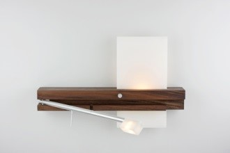 The Levo swing-arm sconce from Cerno doubles as a reading light and sconce.