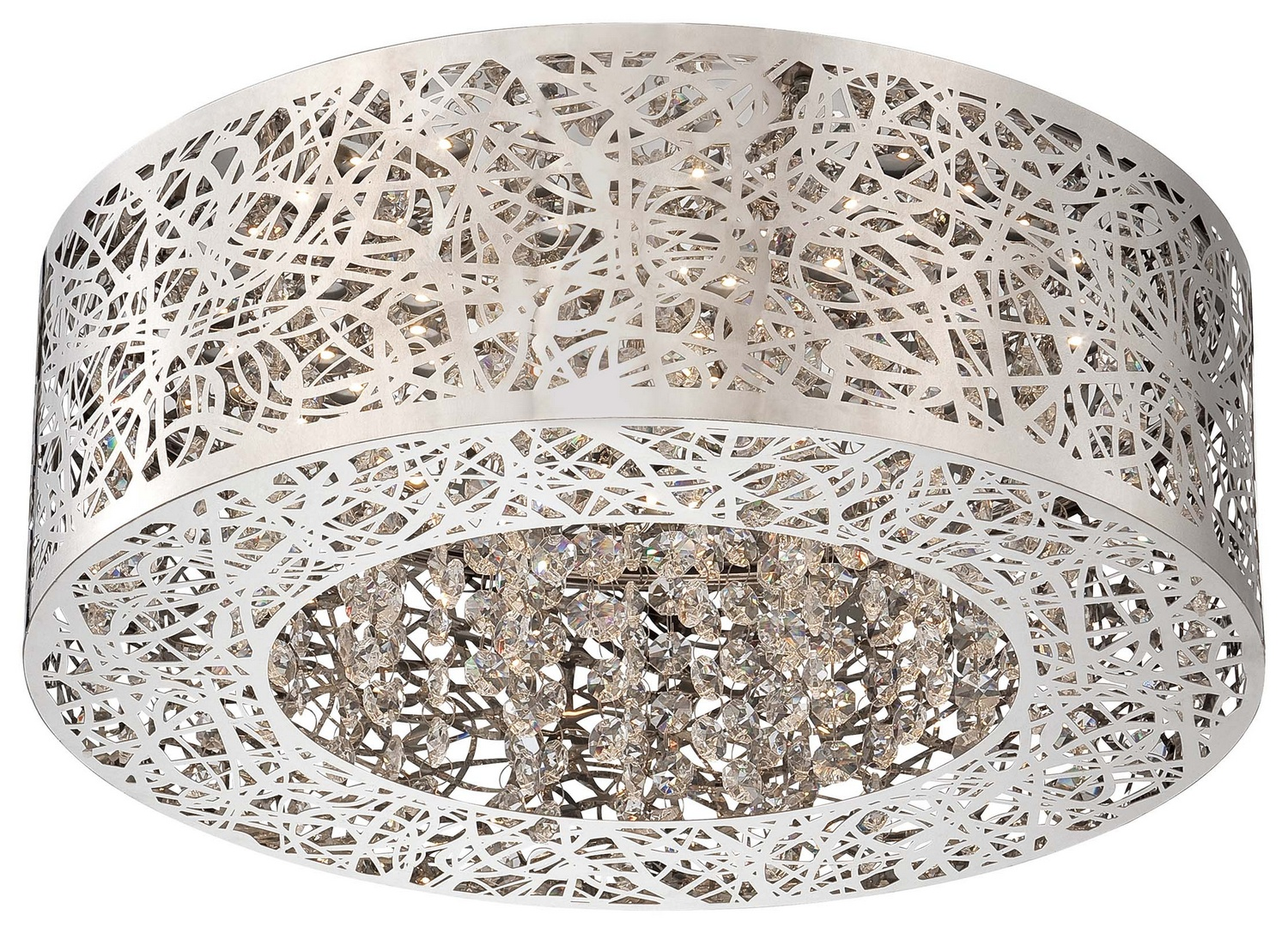 Kovacs P980 Hidden Gems Flush Mount in Chrome with Crystal and 3000K LED lamping
