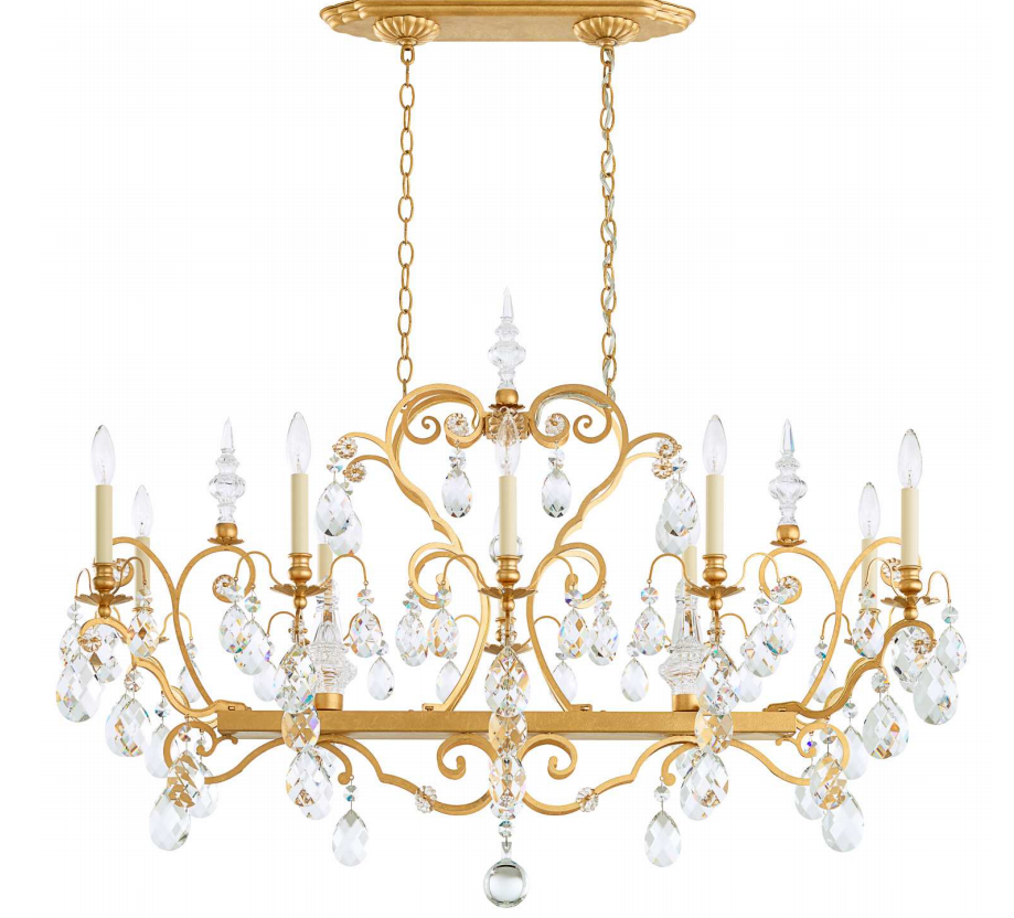 Schonbek 3795 Renaissance Rectangle Chandelier in Heirloom Gold