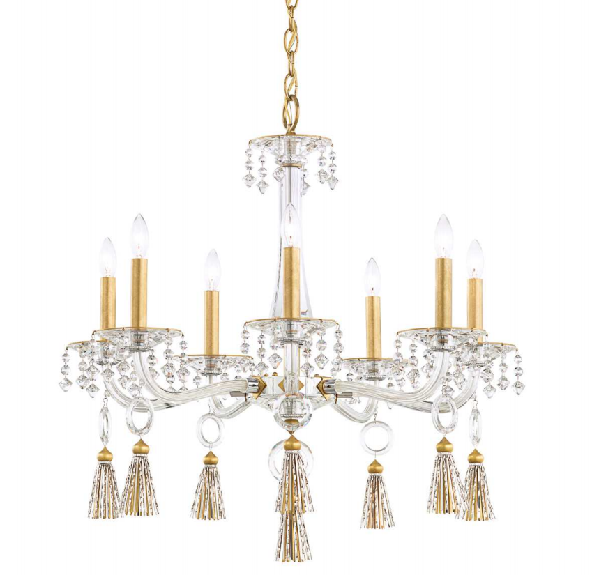 Schonbek GT1007 Tassau Chandelier in Heirloom Gold and Polished Stainless