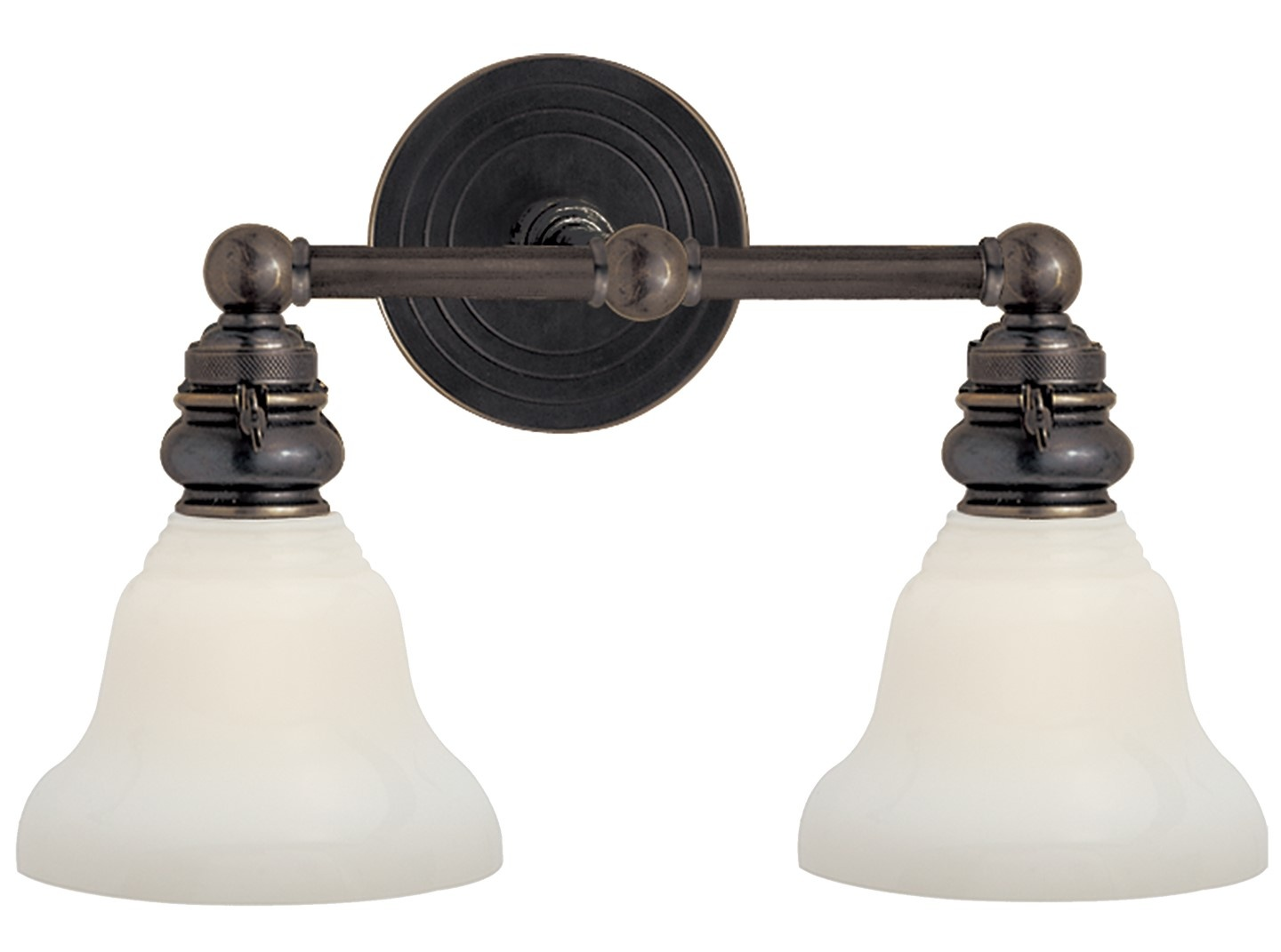Visual Comfort SL2932 Two Light Boston Bath Sconce in the Bronze finish with White Glass shades.