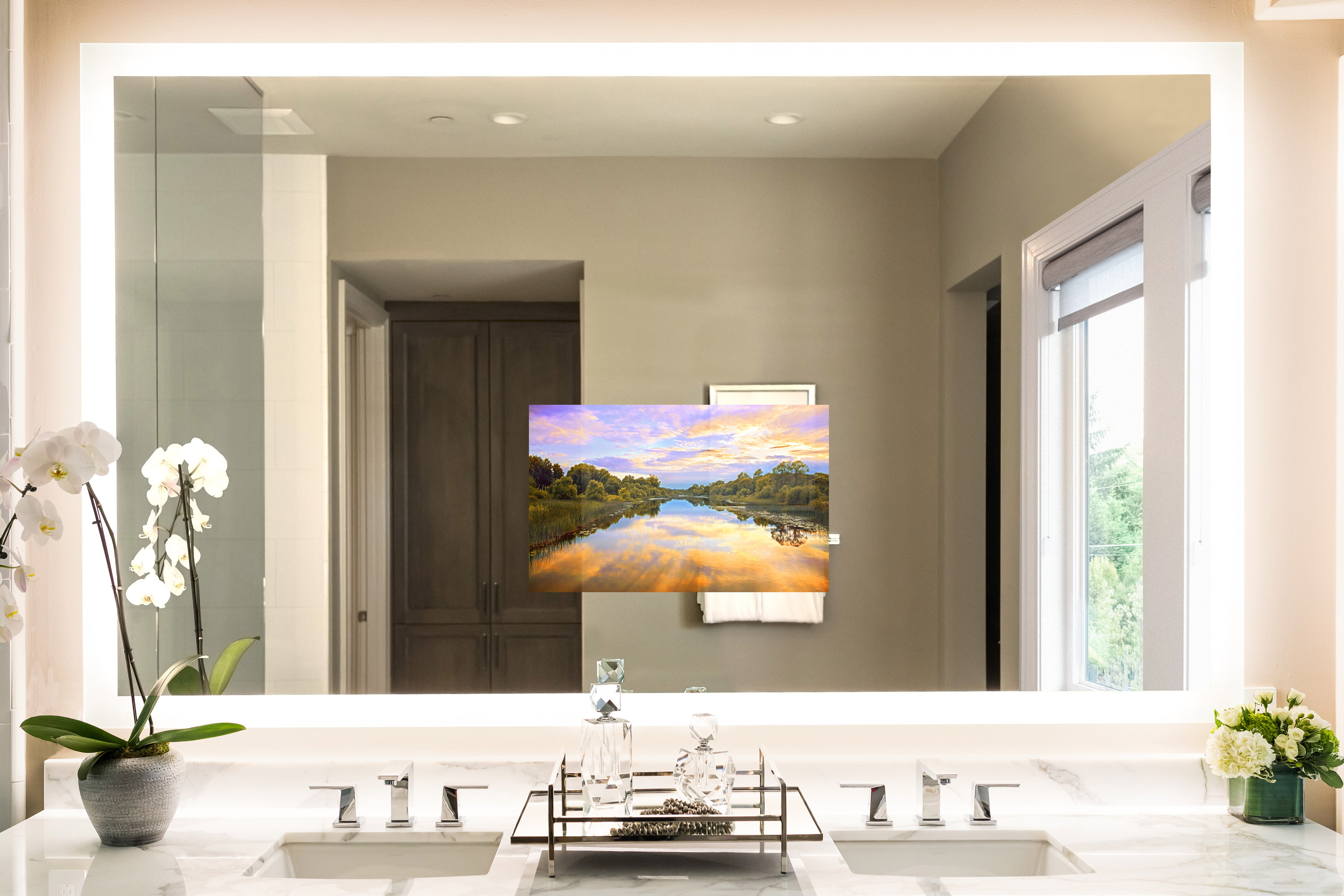 Seura's Vanishing Vanity TV mirrors can have lights added to them like the Forte configuration shown here for an elegant task lighting solution.