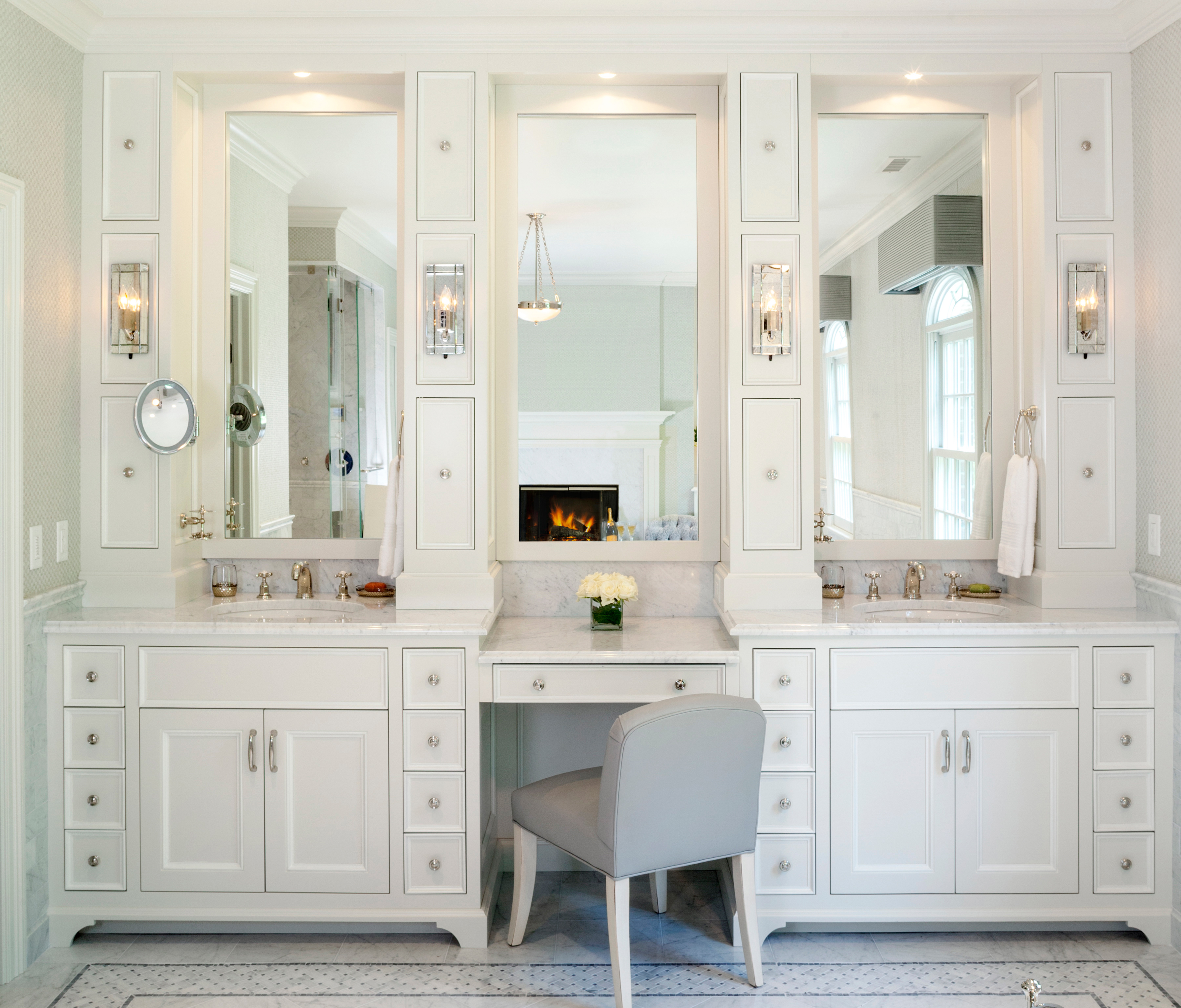 When the TV mirror is switched off, you'd never guess this traditional vanity had such a high-tech component!