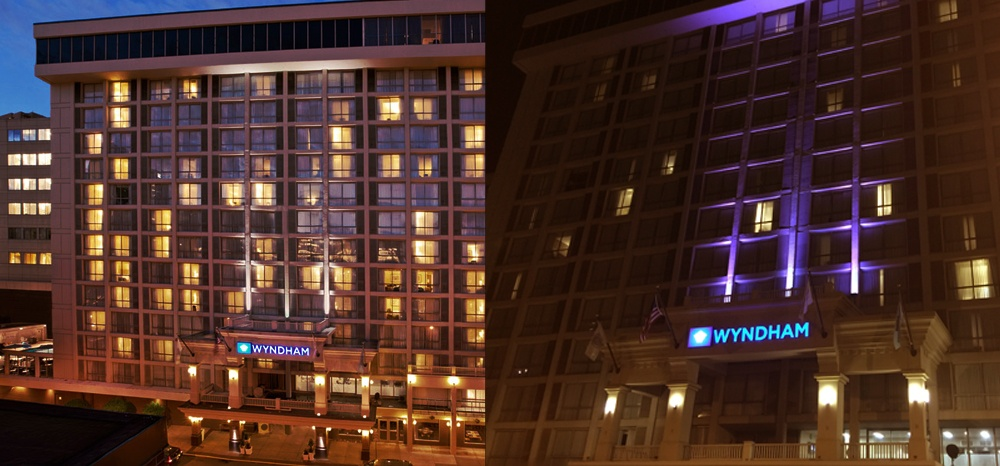 Before and After Installing LED Wall Washers at the Wyndham Boston