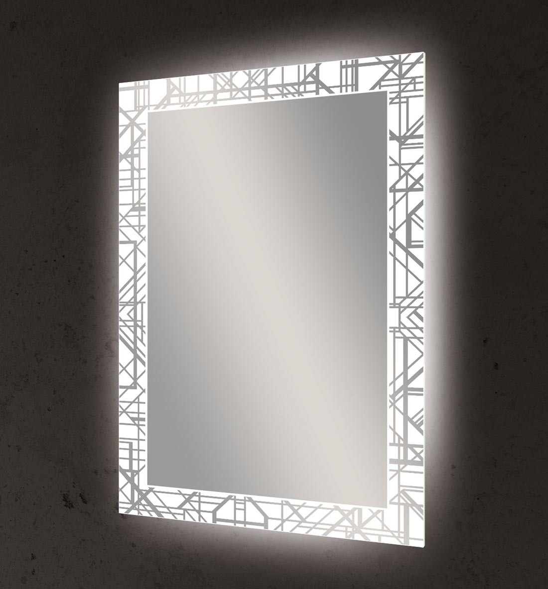 Seura's Deconstructed Deco lighted mirror has a glowing geometric pattern around all four edges.