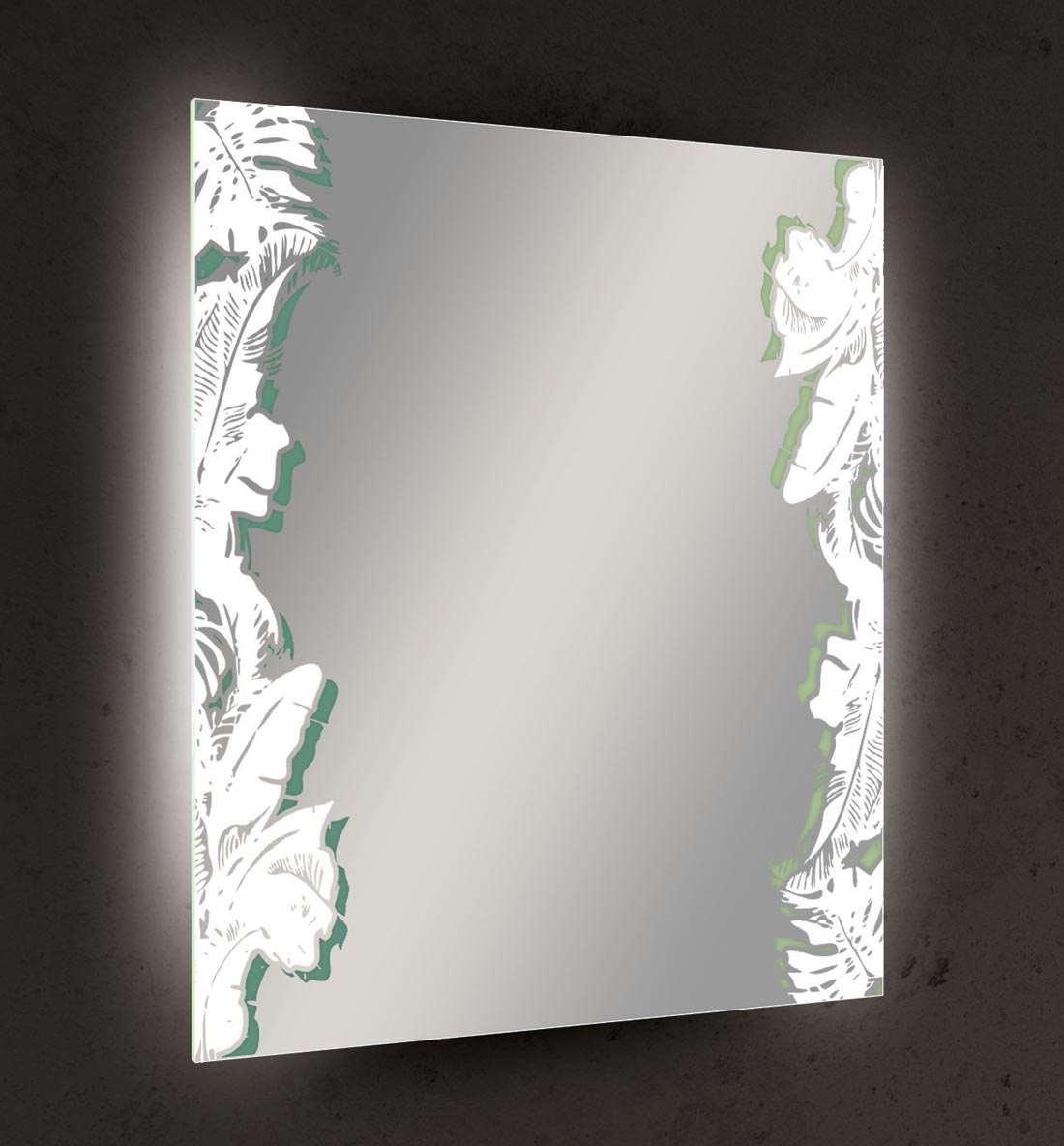 Seura's Wanderlust Lighted Mirror features tropical-inspired leaves etched down either side.